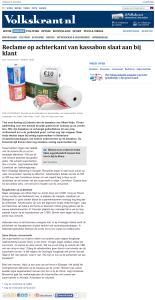 Volkskrant - Reclame op achterkant van kassabon slaat aan bij klant - 6-6-2014 - www.KassabonDeals.nl