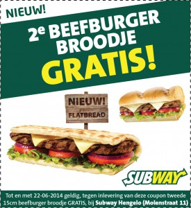 Advertentie op kassabon Subway Hengelo